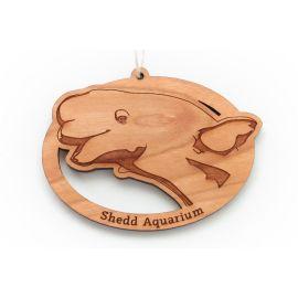 Wood Etched Beluga Ornament