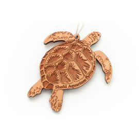 Wood Etched Sea Turtle Ornament